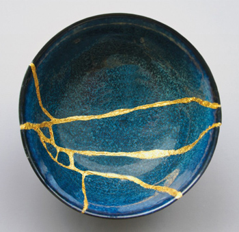 Blue Kintsugi bowl